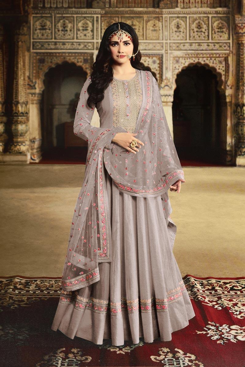 Prachi Desai Function Wear Georgette Fabric Designer Grey Color Embroidered Anarkali Dress