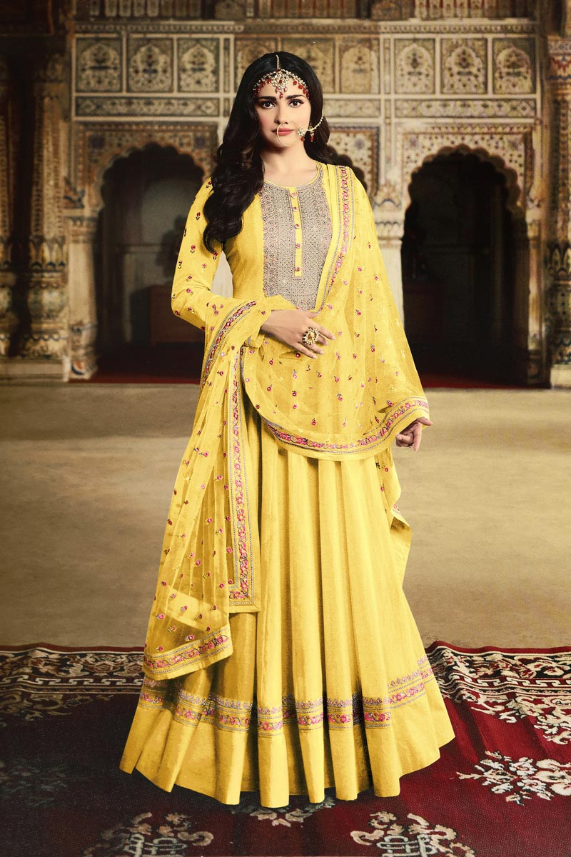 Prachi Desai Yellow Color Function Wear Designer Embroidered Anarkali Suit In Georgette Fabric