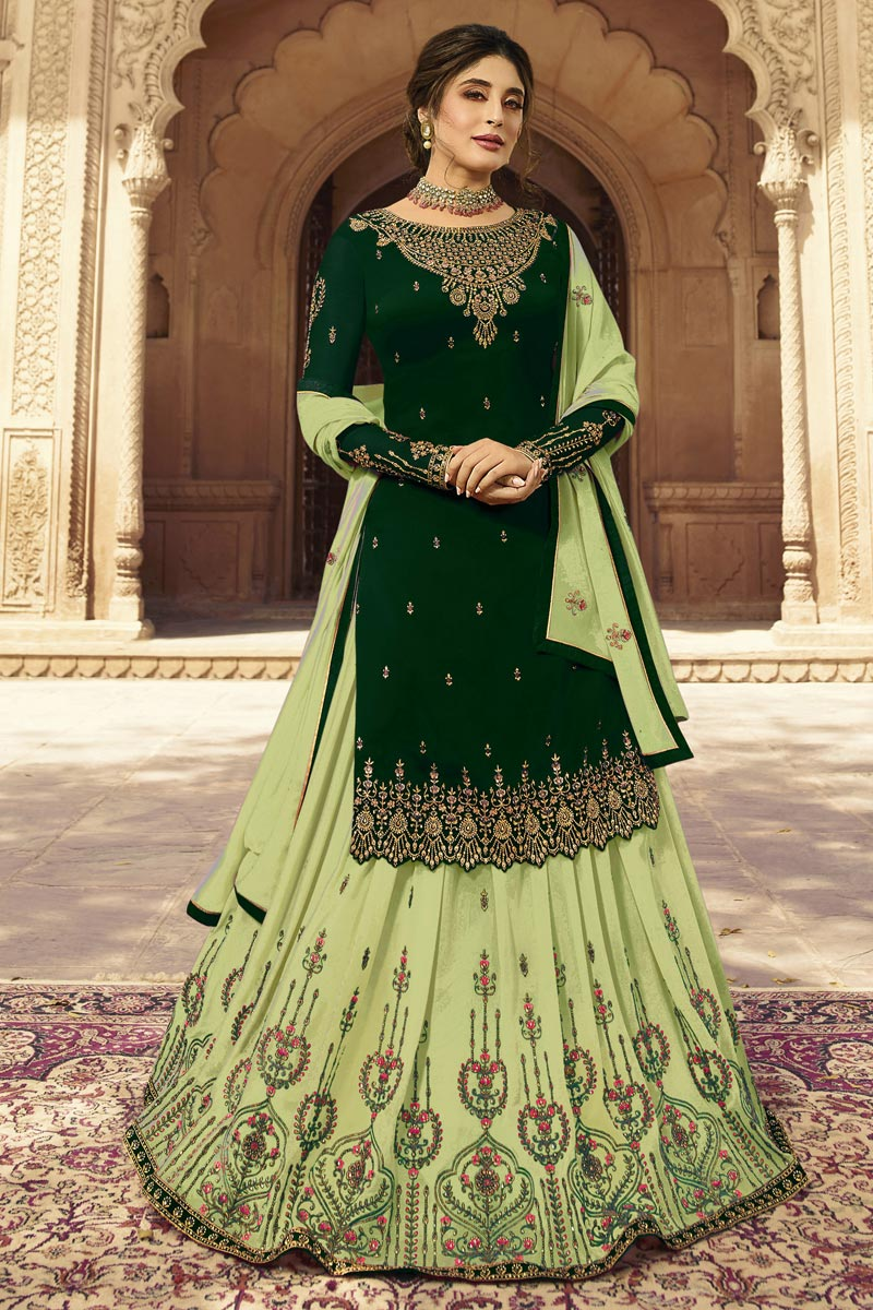 Kritika Kamra Function Wear Georgette Fabric Embroidered Sharara Top Lehenga In Dark Green Color