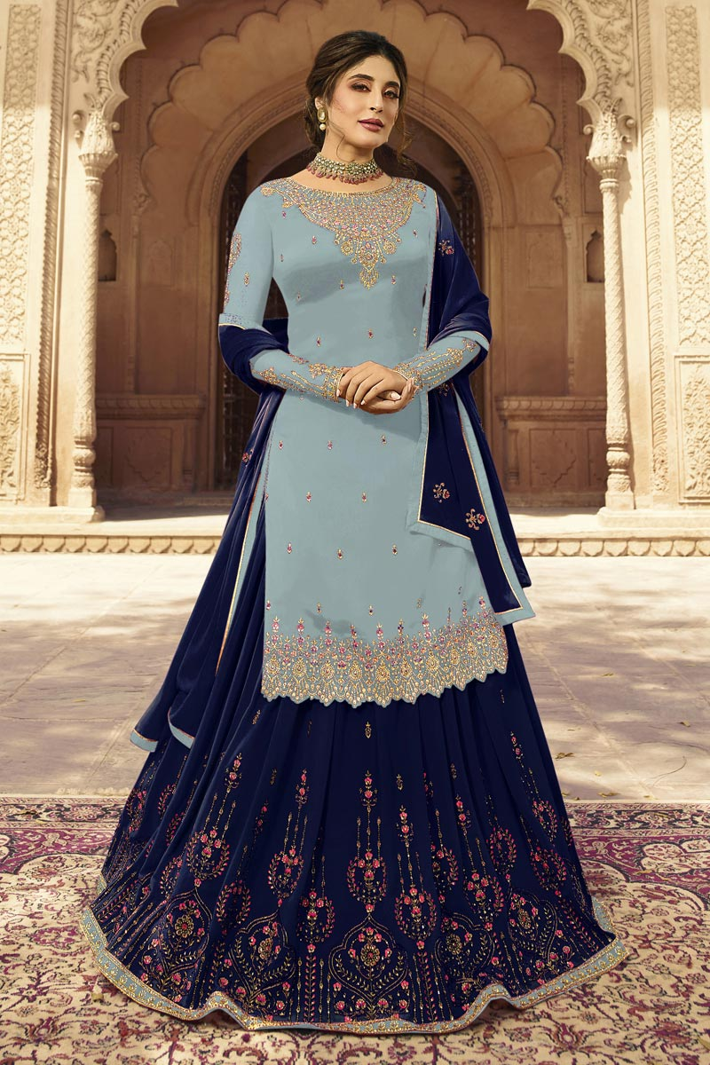 Kritika Kamra Function Wear Georgette Fabric Embroidered Sharara Top Lehenga In Grey Color