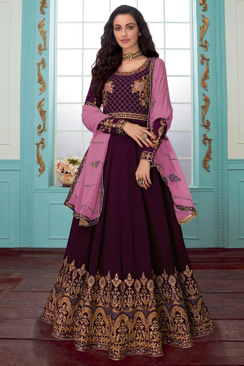 Sangeet Wear Georgette Fabric Designer Wine Color Embroidered Anarkali Dress