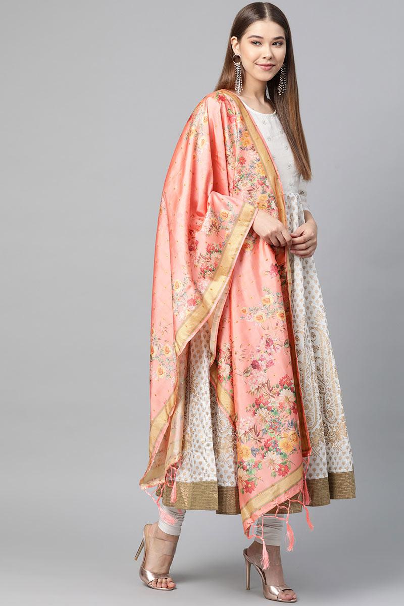 Peach Color Jacquard Silk Fancy Digital Floral Printed Dupatta