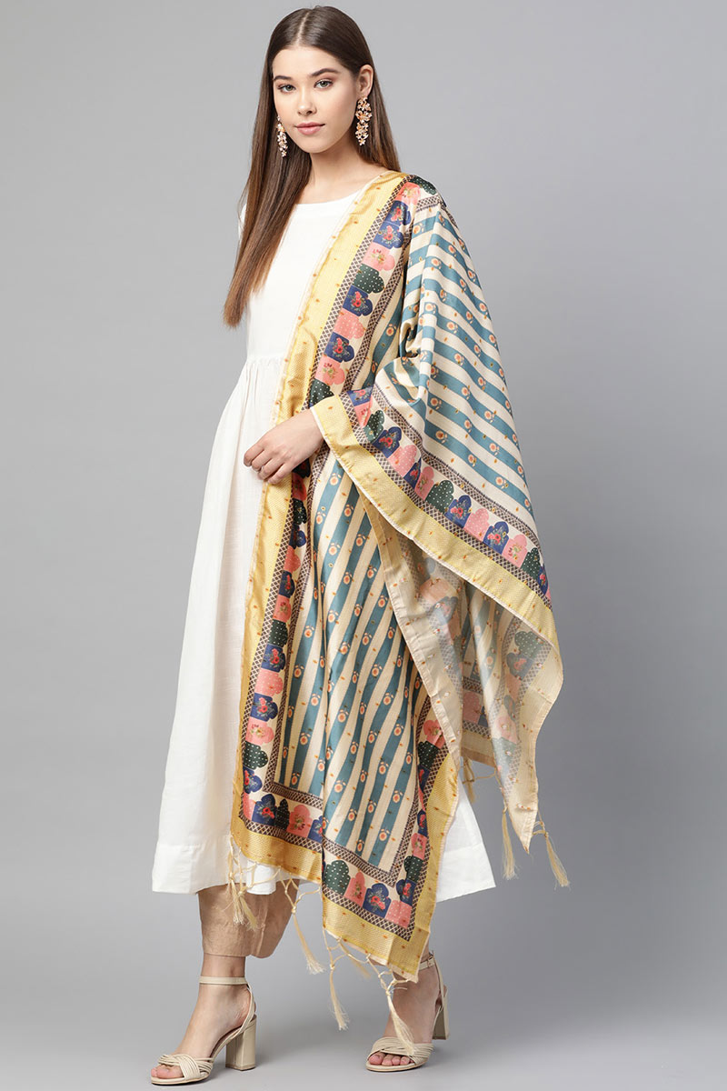 Cream Color Jacquard Silk Ethnic Wear Digital Printed Dupatta