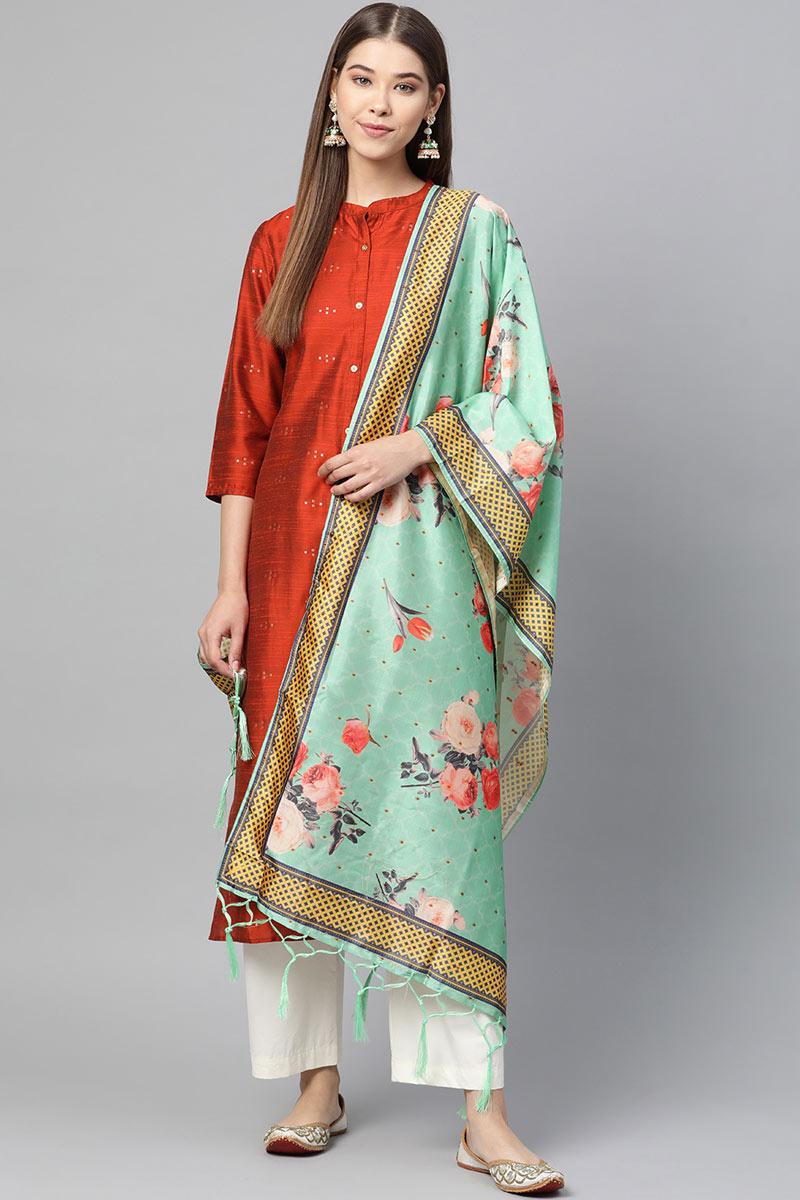 Sea Green Color Function Wear Jacquard Silk Dupatta