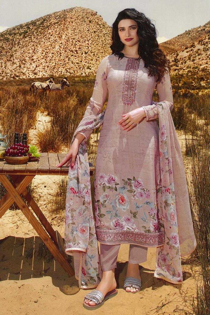 Prachi Desai Classic Lavender Color Casual Wear Crepe Fabric Straight Cut Dress