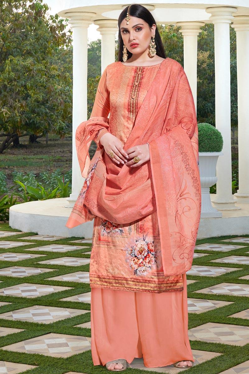 Peach Color Festive Wear Elegant Printed Cotton Silk Fabric Palazzo Dress