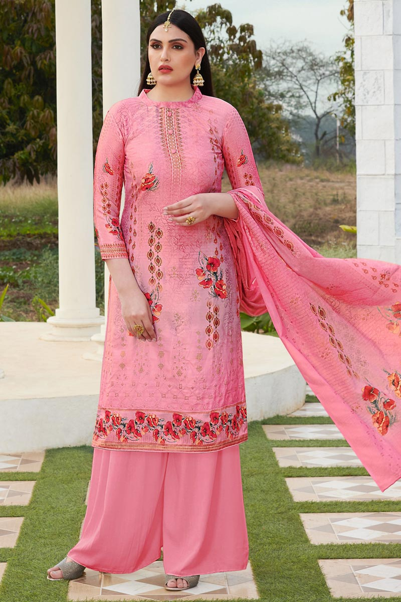 Elegant Pink Color Festive Wear Cotton Silk Fabric Printed Palazzo Suit