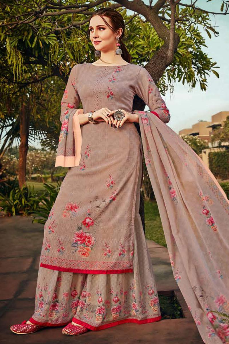 Classic Chikoo Color Sangeet Wear Printed Georgette Fabric Palazzo Suit