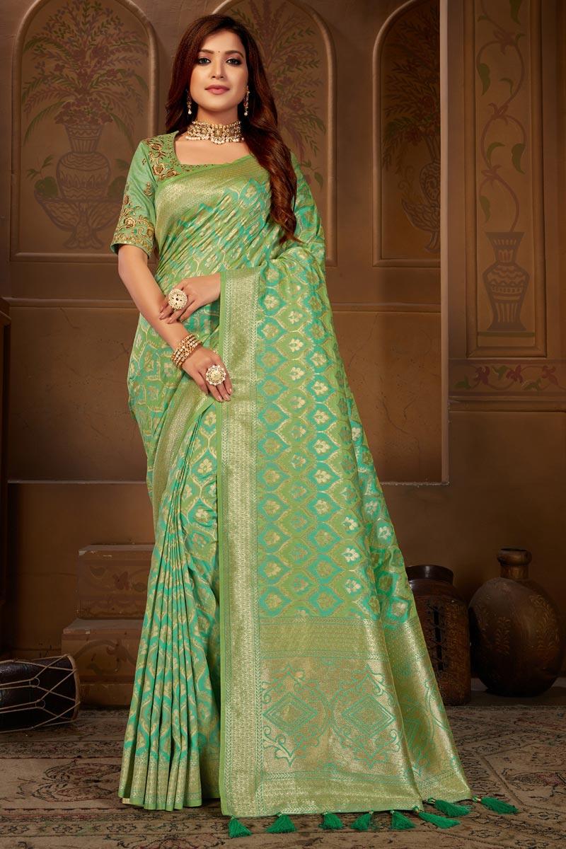 Sea Green Function Wear Jacquard Silk Fabric Classy Weaving Work Saree