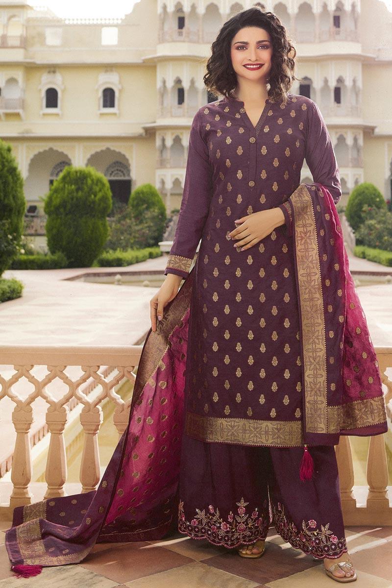 Prachi Desai Party Wear Jacquard Silk Fabric Chic Wine Color Palazzo Suit