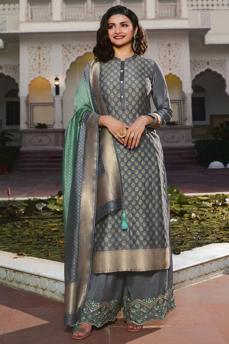 Prachi Desai Grey Color Chic Party Wear Palazzo Suit In Jacquard Silk Fabric