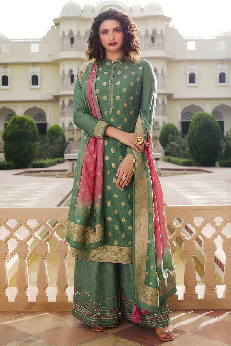 Prachi Desai Green Color Jacquard Silk Fabric Function Wear Weaving Work Palazzo Suit