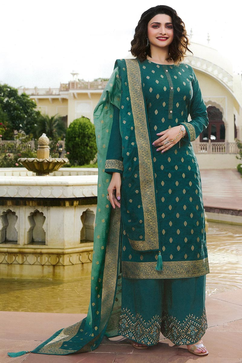 Prachi Desai Party Wear Teal Color Chic Jacquard Silk Fabric Palazzo Suit
