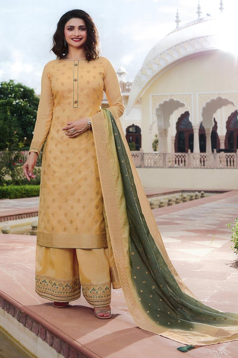 Prachi Desai Jacquard Silk Fabric Party Wear Chic Palazzo Suit In Beige Color
