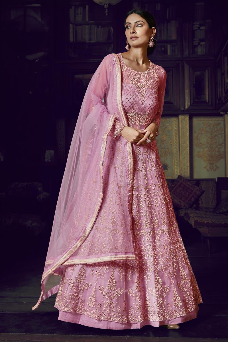 Net Fabric Sangeet Wear Designer Anarkali Salwar Suit