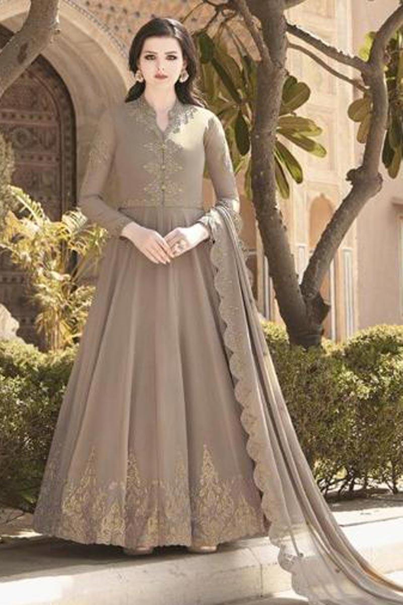 Dark Beige Color Georgette Fabric Embroidery Work Function Wear Fancy Anarkali Suit