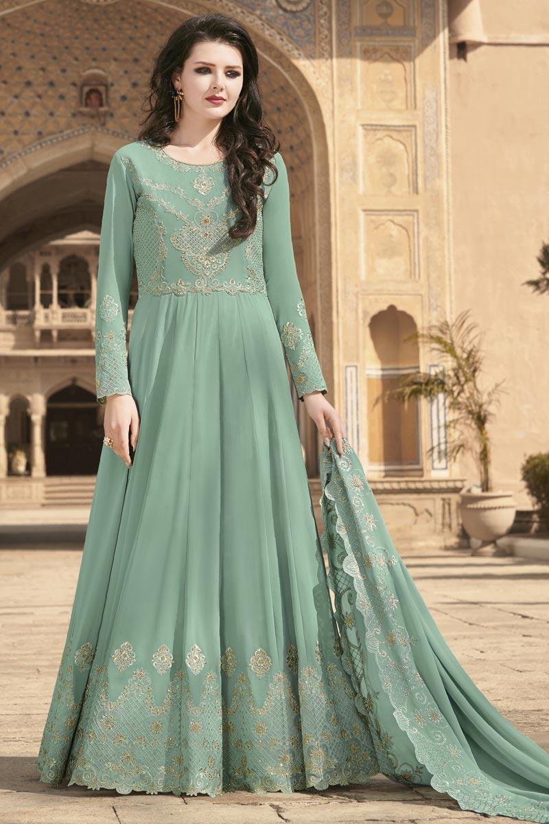 Georgette Fabric Embroidery Work Festive Wear Trendy Anarkali Suit In Sea Green Color