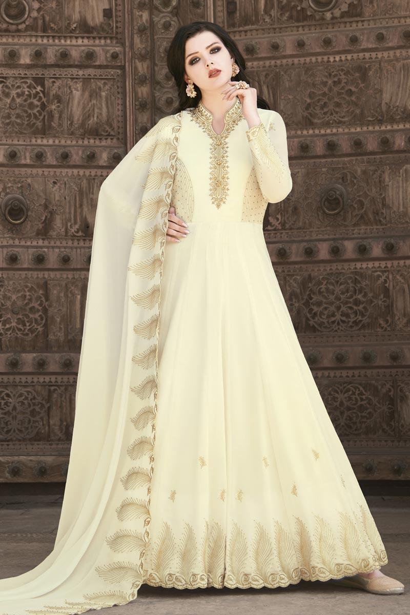 Embroidery Work Sangeet Wear Stylish Anarkali Suit In Beige Color Georgette Fabric
