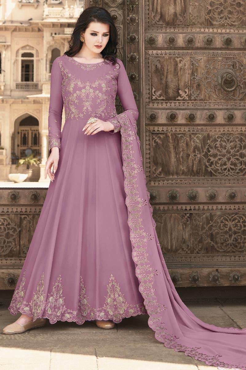 Georgette Fabric Embroidery Work Wedding Wear Designer Anarkali Suit In Pink Color
