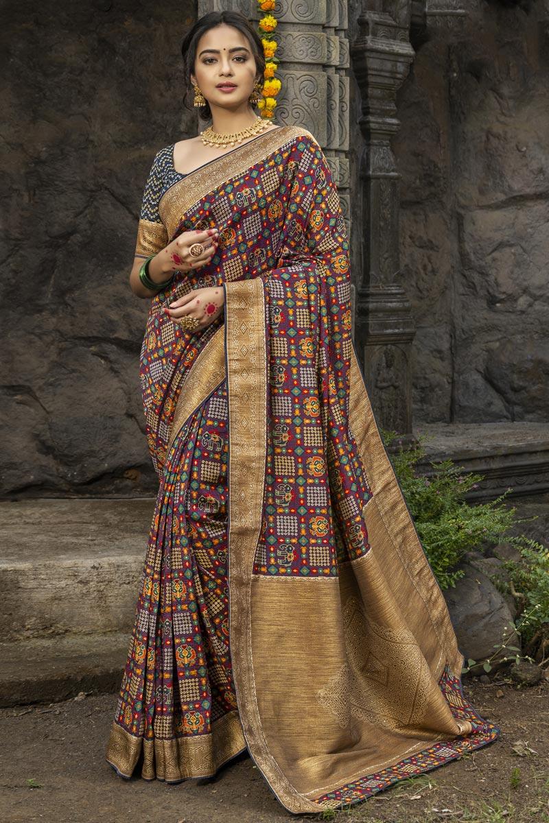 Art Silk Fabric Puja Wear Wine Color Fancy Weaving Work Saree
