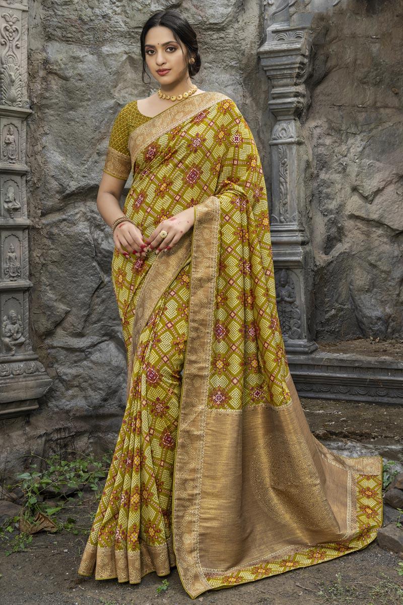 Sea Green Color Puja Wear Art Silk Fabric Fancy Weaving Work Saree