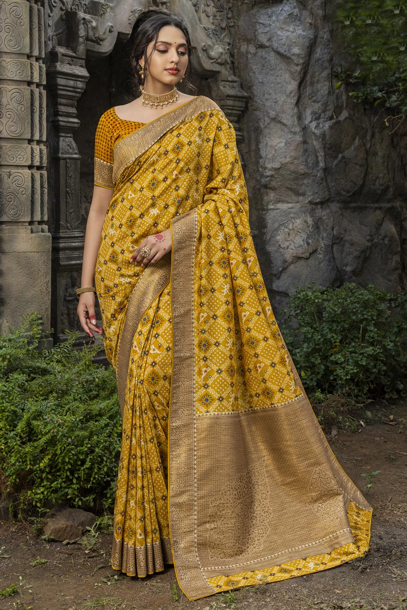 Art Silk Fabric Function Wear Yellow Color Fancy Weaving Work Saree
