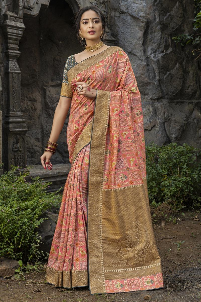 Function Wear Peach Color Art Silk Fabric Fancy Weaving Work Saree