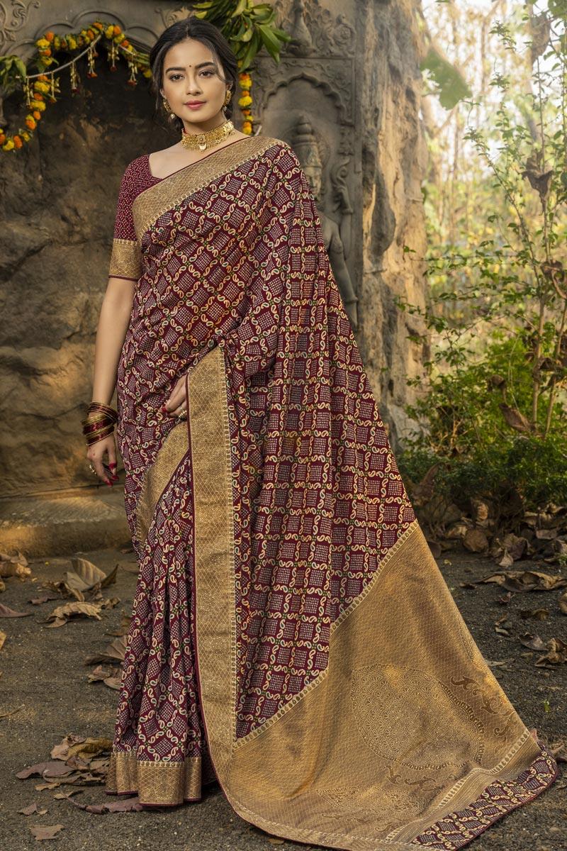 Festive Wear Art Silk Fabric Fancy Weaving Work Saree In Maroon Color