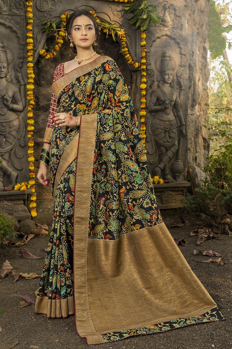 Black Color Festive Wear Art Silk Fabric Fancy Weaving Work Saree