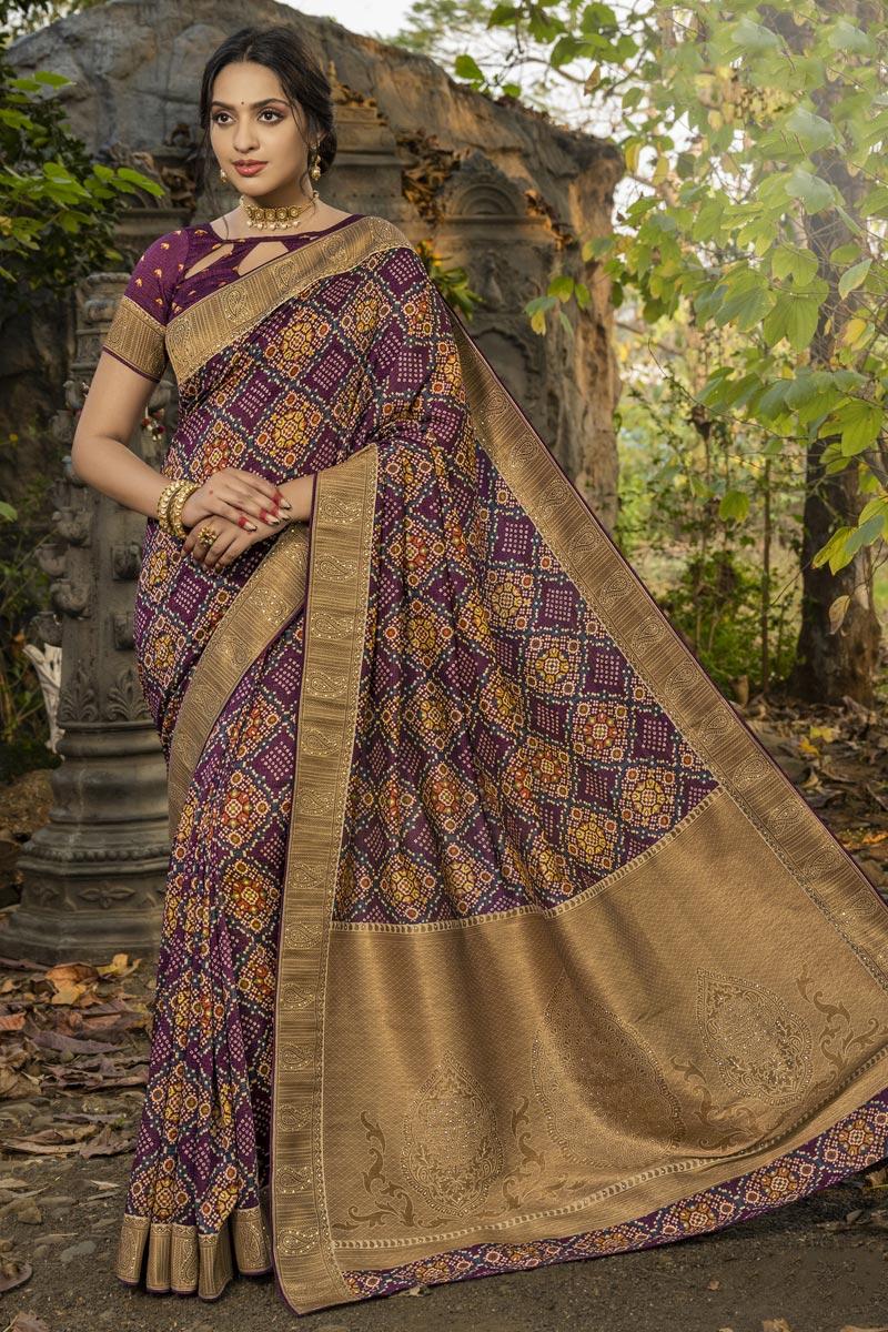 Art Silk Fabric Party Wear Purple Color Fancy Weaving Work Saree