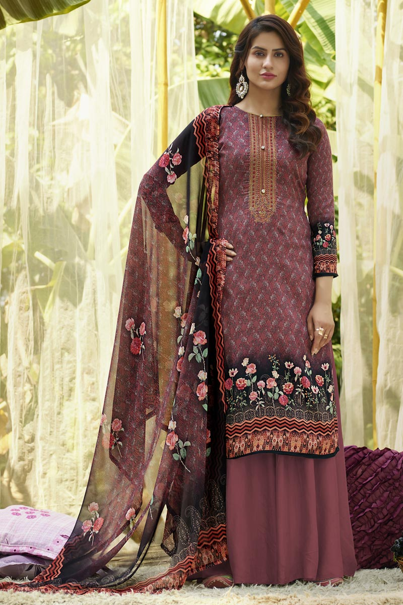 Wine Color Cotton Fabric Fancy Printed Casual Wear Palazzo Suit