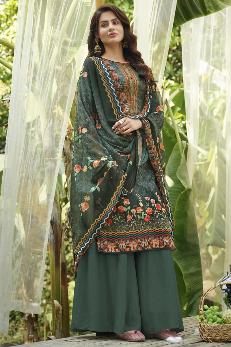 Cotton Fabric Stylish Printed Daily Wear Palazzo Salwar Suit In Green Color
