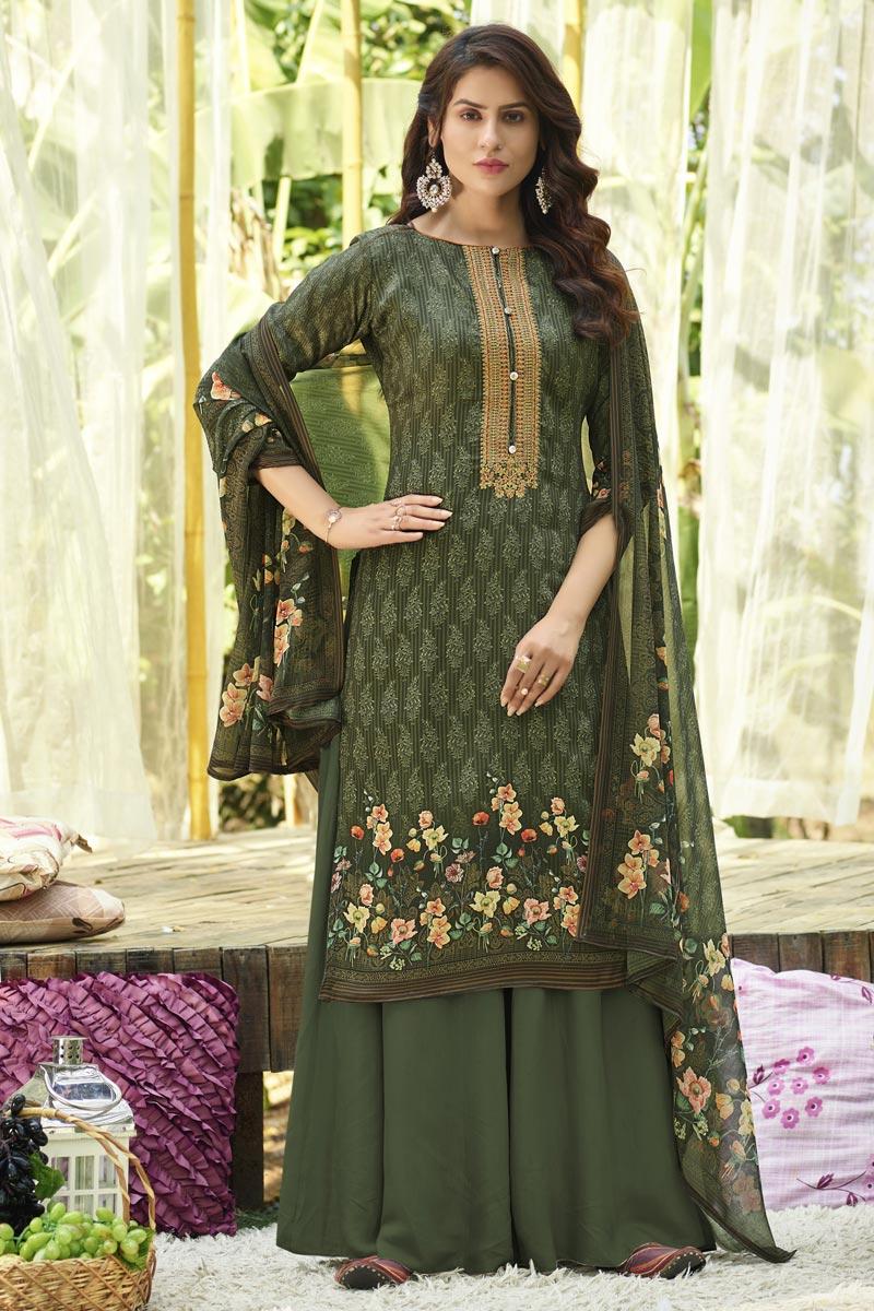 Trendy Printed Office Wear Palazzo Salwar Kameez In Mehendi Green Color Cotton Fabric