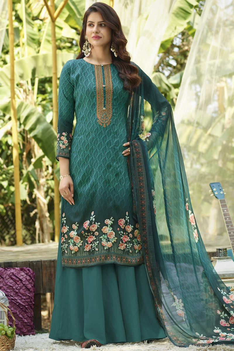Cyan Color Cotton Fabric Simple Printed Casual Wear Palazzo Suit