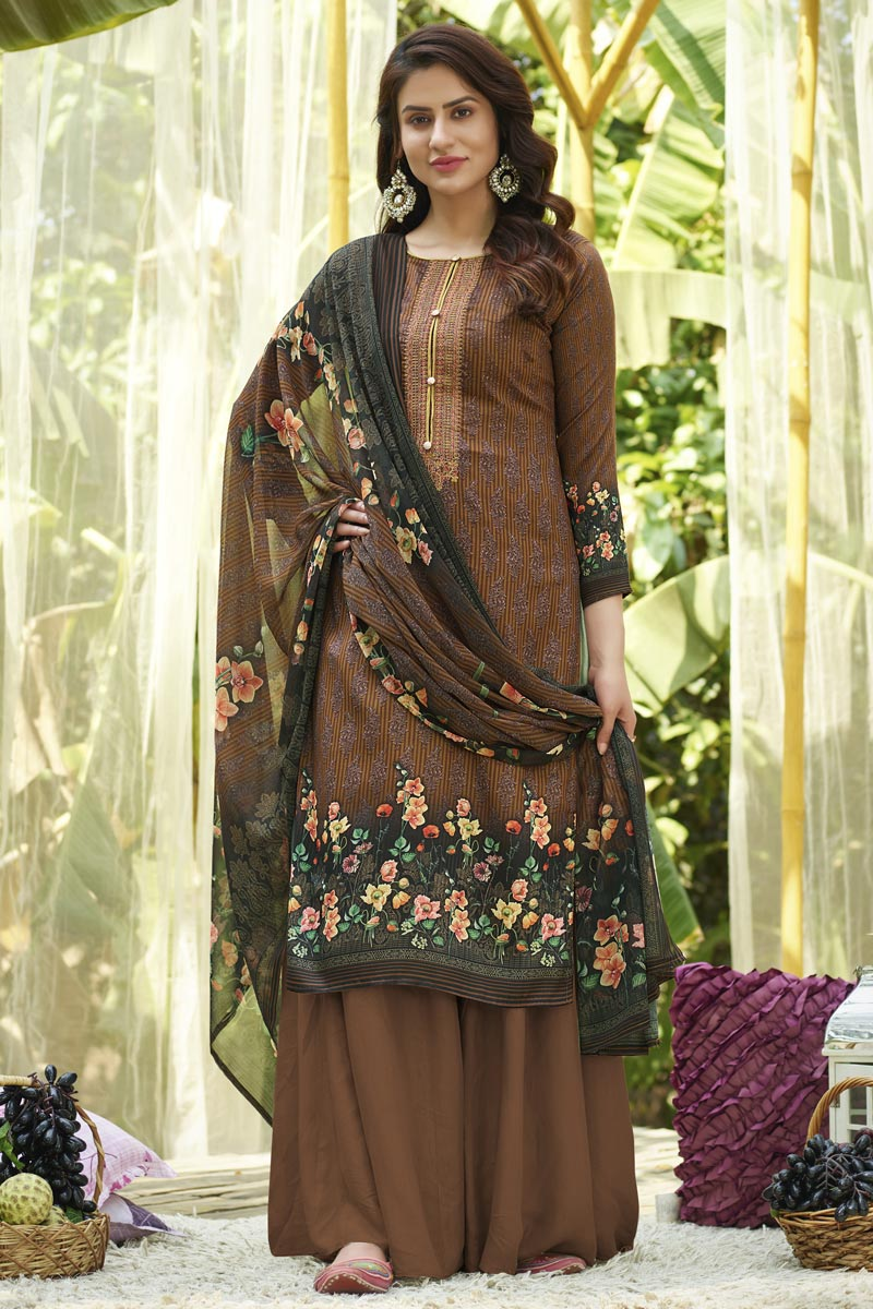 Cotton Fabric Printed Daily Wear Palazzo Salwar Suit In Brown Color