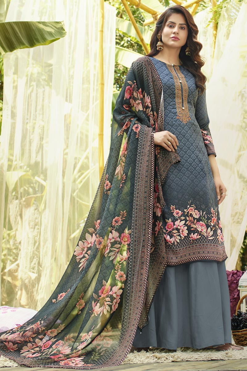 Printed Office Wear Palazzo Salwar Kameez In Grey Color Cotton Fabric