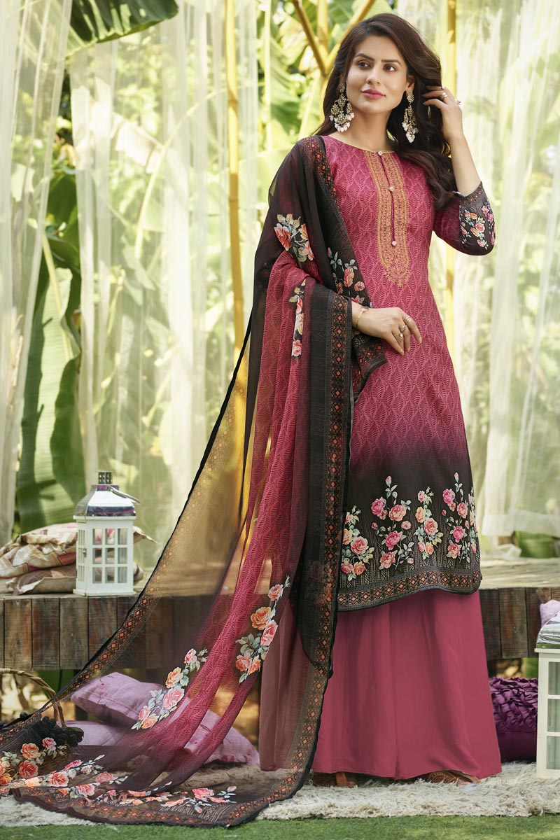 Peach Cotton Fabric Fancy Printed Casual Wear Palazzo Suit