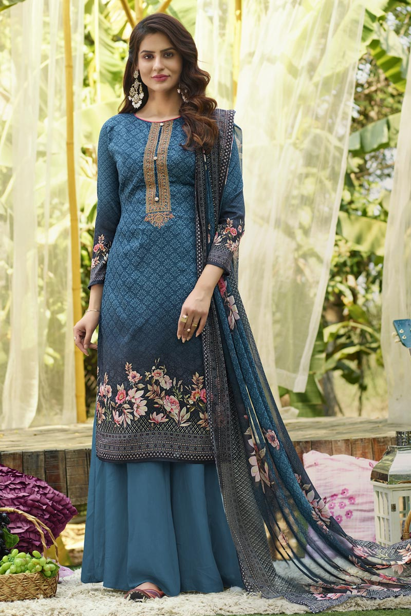 Cotton Stylish Printed Daily Wear Palazzo Salwar Suit In Blue Color