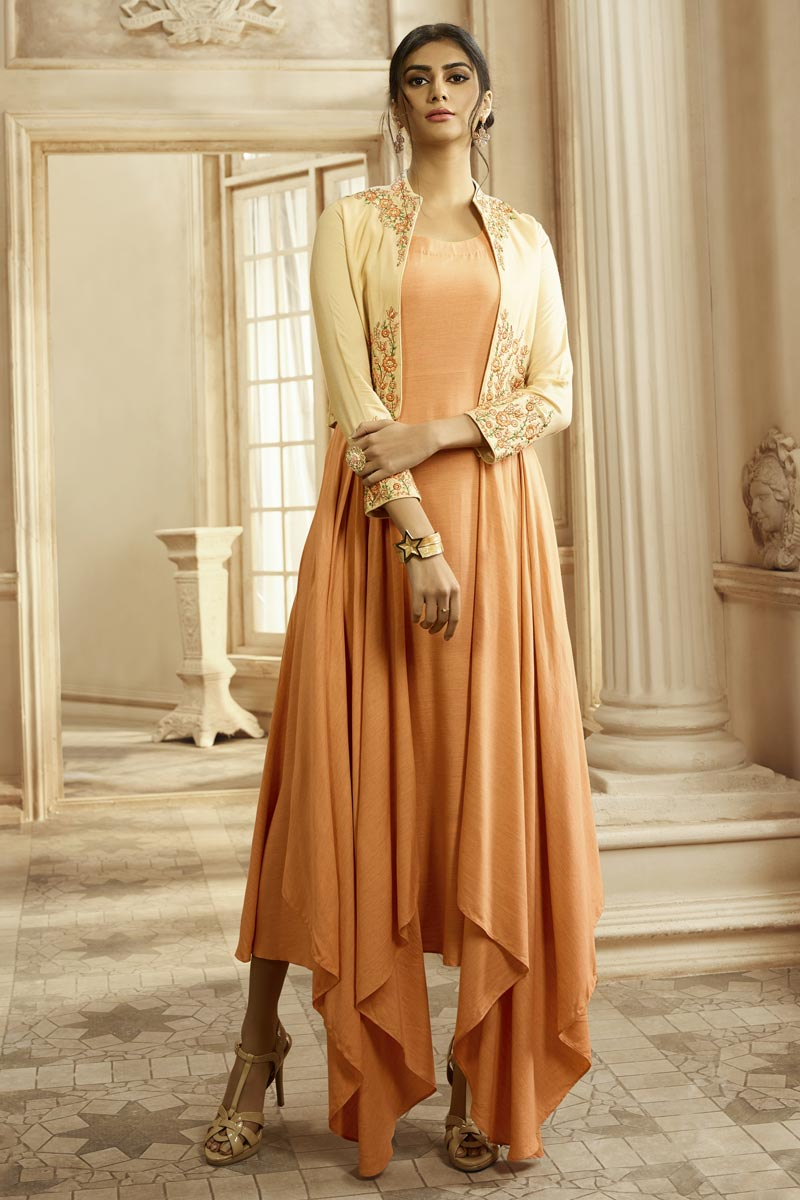 Party Style Peach Color Designer Embroidered Readymade Gown In Fancy Fabric