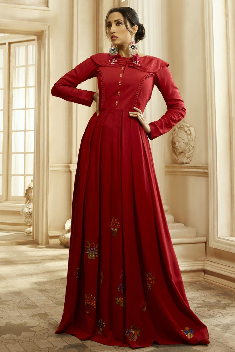 Fancy Fabric Party Style Designer Embroidered Readymade Gown In Red Color