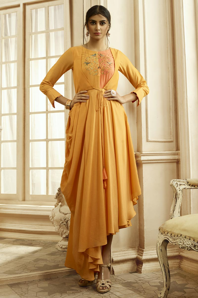 Designer Party Style Mustard Color Fancy Fabric Embroidered Readymade Gown