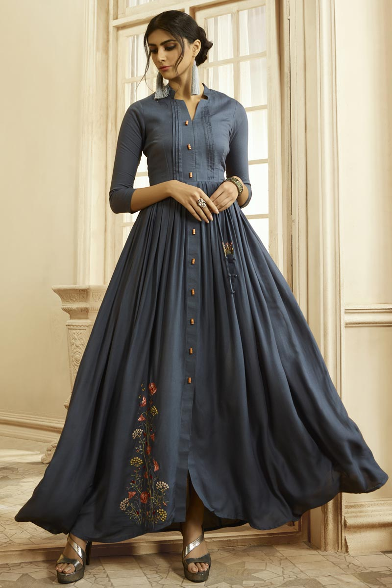 Party Style Fancy Fabric Designer Embroidered Readymade Gown In Grey Color