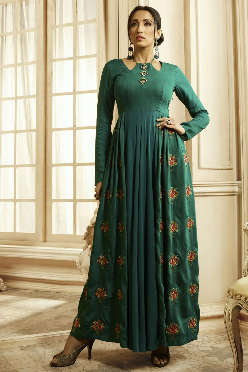 Designer Fancy Fabric Party Style Embroidered Teal Color Readymade Gown