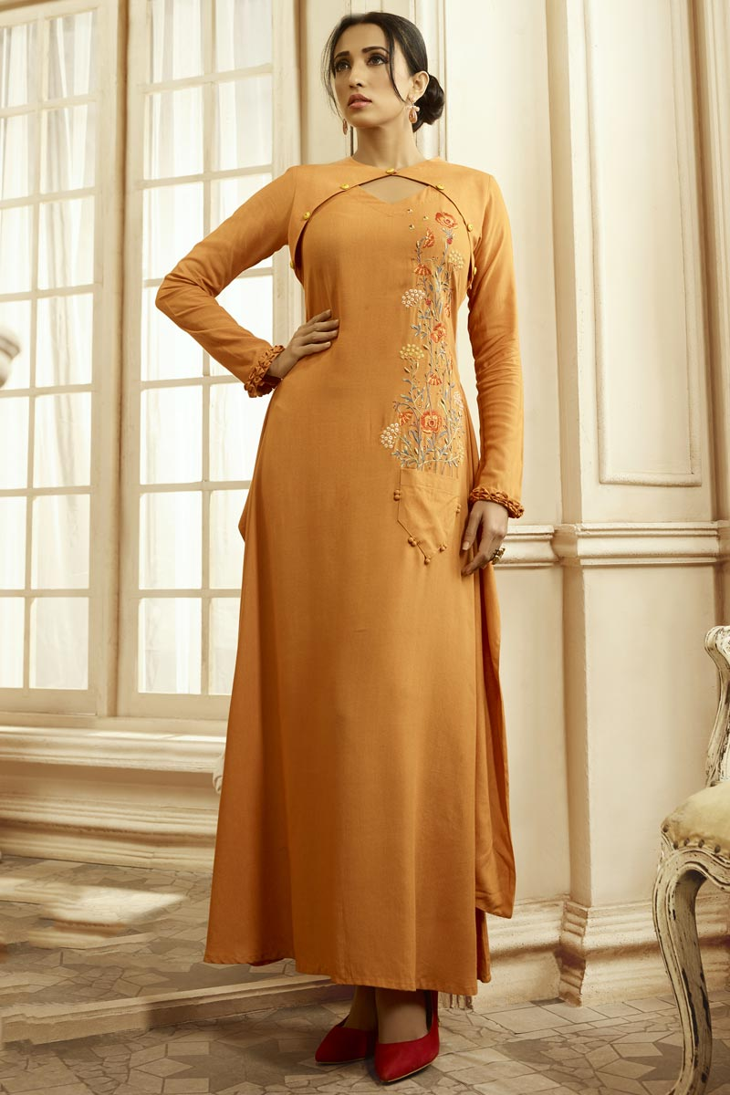 Orange Color Party Style Designer Embroidered Readymade Gown In Fancy Fabric