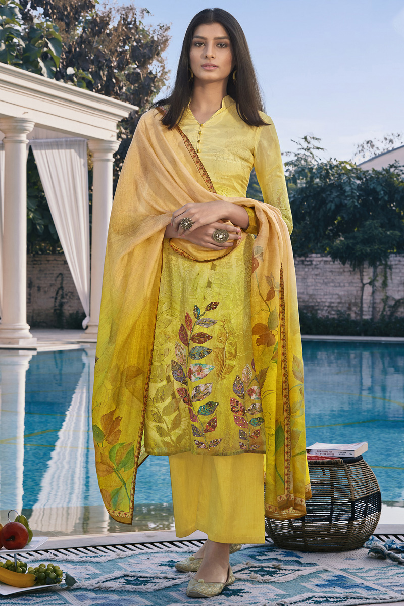 Yellow Color Casual Wear Fancy Printed Cotton Silk Fabric Palazzo Suit