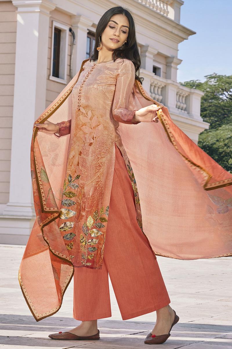 Peach Color Casual Wear Fancy Printed Cotton Silk Fabric Palazzo Dress