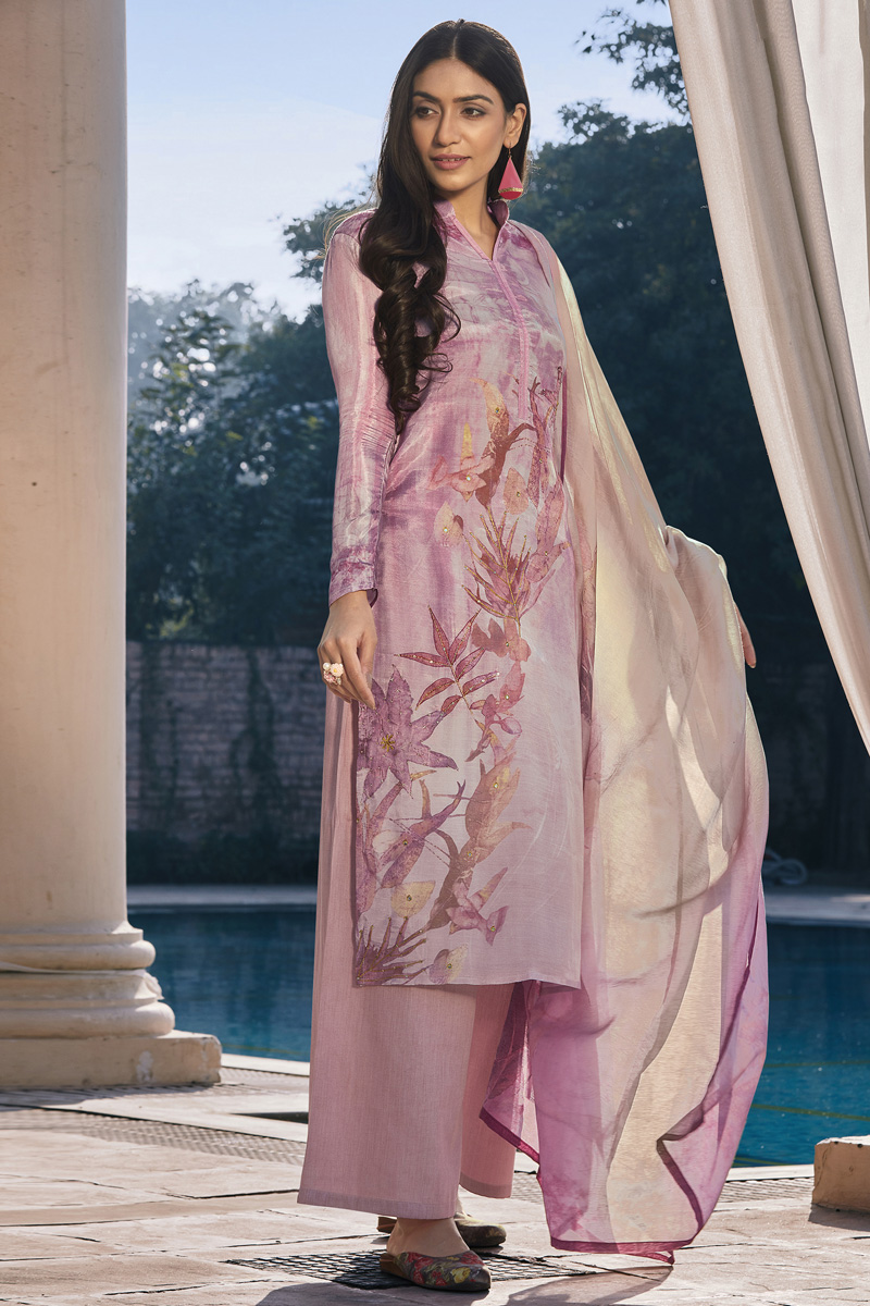 Cotton Silk Fabric Casual Wear Pink Color Fancy Printed Palazzo Suit