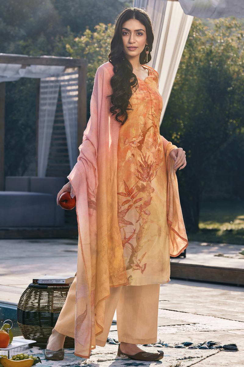 Orange Color Cotton Silk Fabric Casual Wear Fancy Printed Palazzo Dress