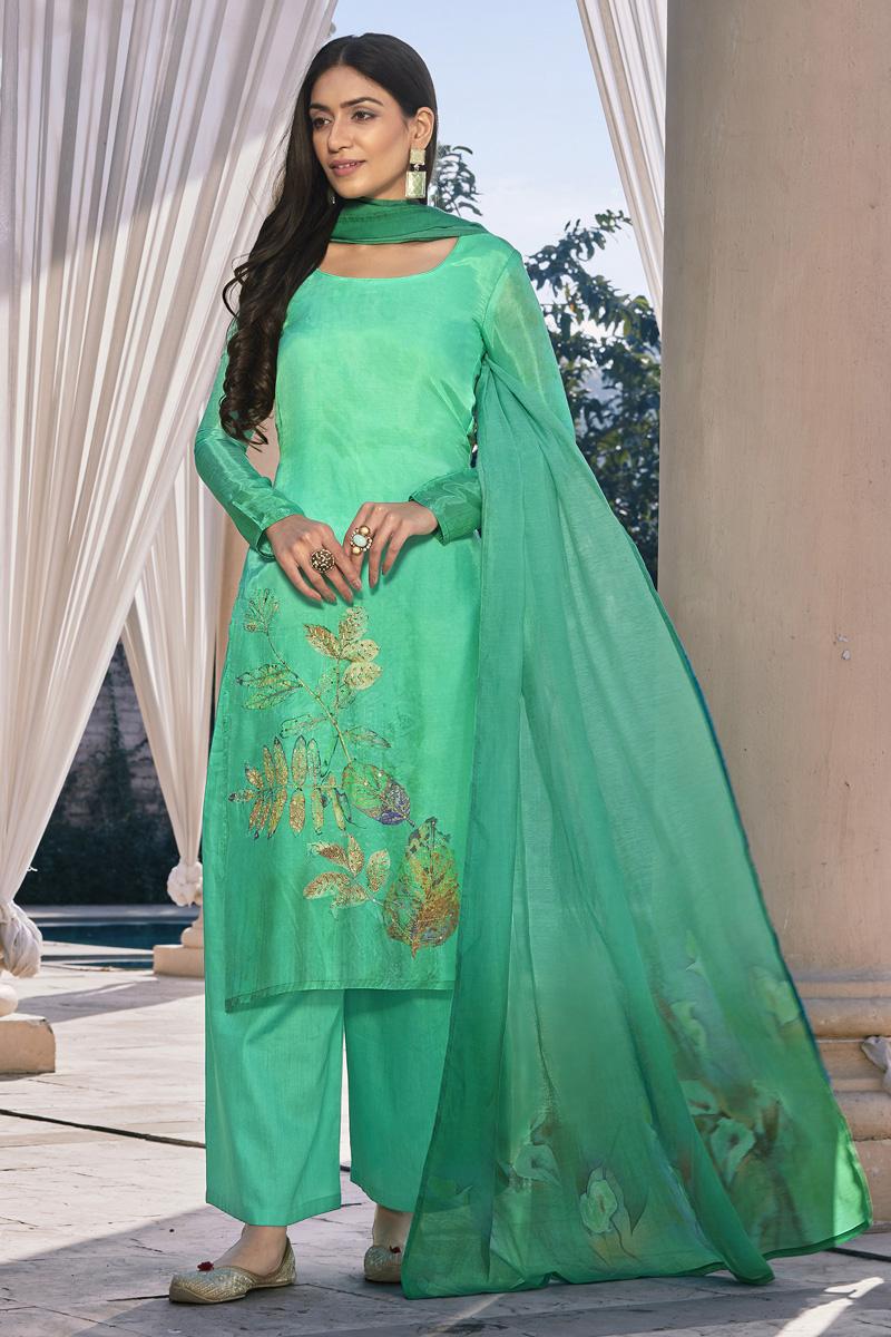 Cotton Silk Fabric Casual Wear Fancy Printed Palazzo Dress In Sea Green Color