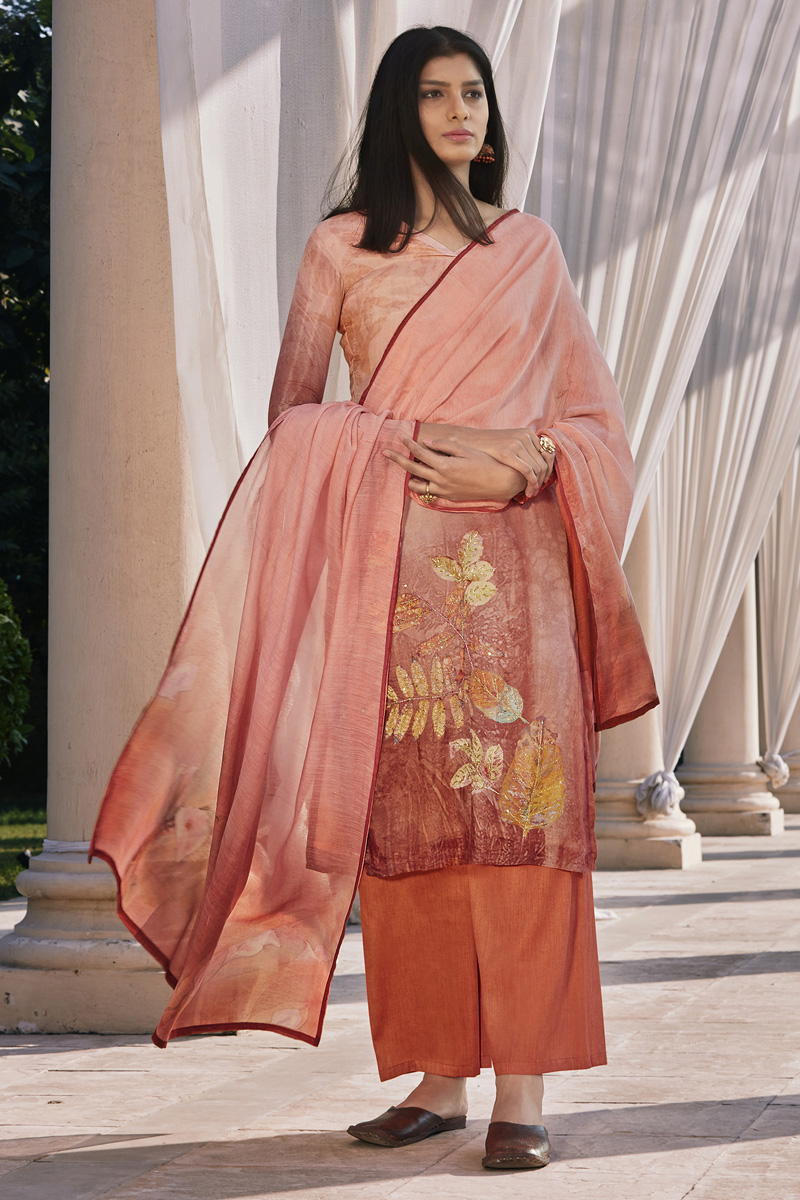 Casual Wear Cotton Silk Fabric Peach Color Fancy Printed Palazzo Suit